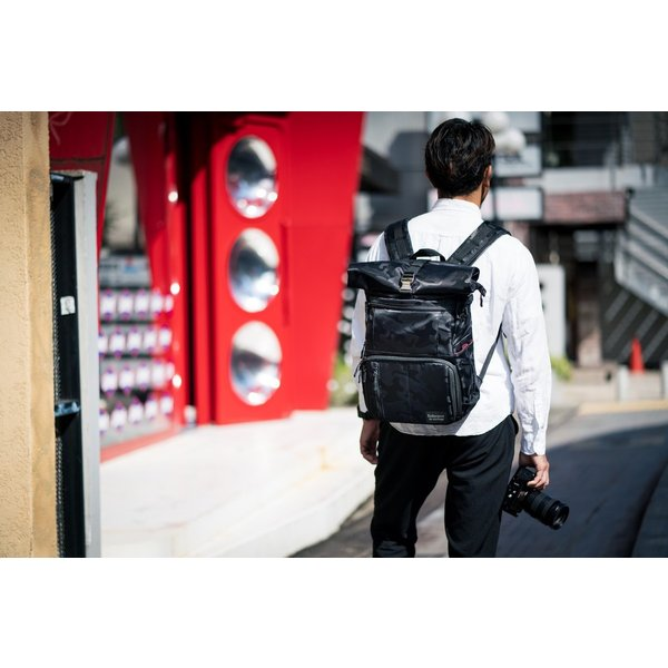 ブラック迷彩柄 Endurance カメラバッグ Ext(エクステンド)  コンパクト&多機能 リュックタイプ|y-op|07