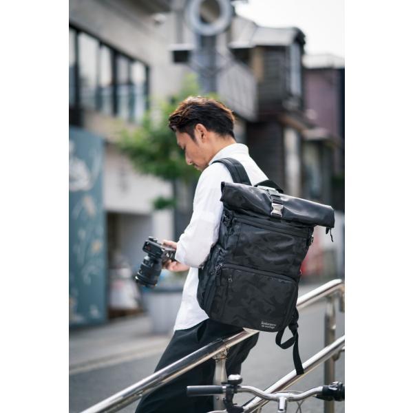 ブラック迷彩柄 Endurance カメラバッグ Ext(エクステンド)  コンパクト&多機能 リュックタイプ|y-op|08