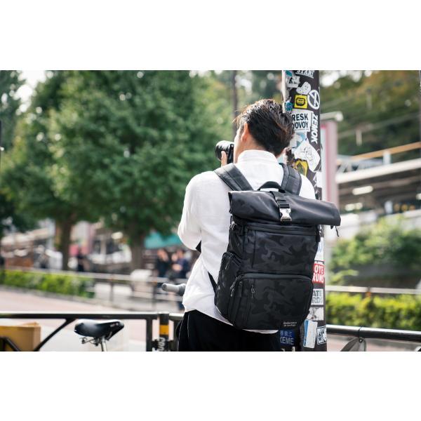 ブラック迷彩柄 Endurance カメラバッグ Ext(エクステンド)  コンパクト&多機能 リュックタイプ|y-op|09