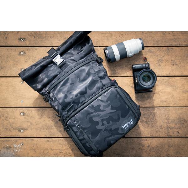 ブラック迷彩柄 Endurance カメラバッグ Ext(エクステンド)  コンパクト&多機能 リュックタイプ|y-op|10