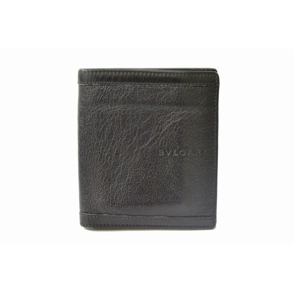 99806ee8b367 本物 BVLGARI ブルガリ 二つ折 折札入れ 札入れ 折財布 コンパクトウォレット レザー 革 ブラック 黒