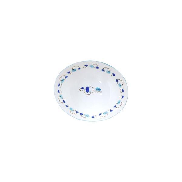 アサヒコウヨウ 子供カレー・パスタ皿 もぐもぐ ゾウ KD309-BL ブルー