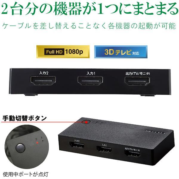 エレコム(ELECOM) HDMI切替器/2入力1出力/ケーブルなしモデル/ブラック DH-SWL2CBK