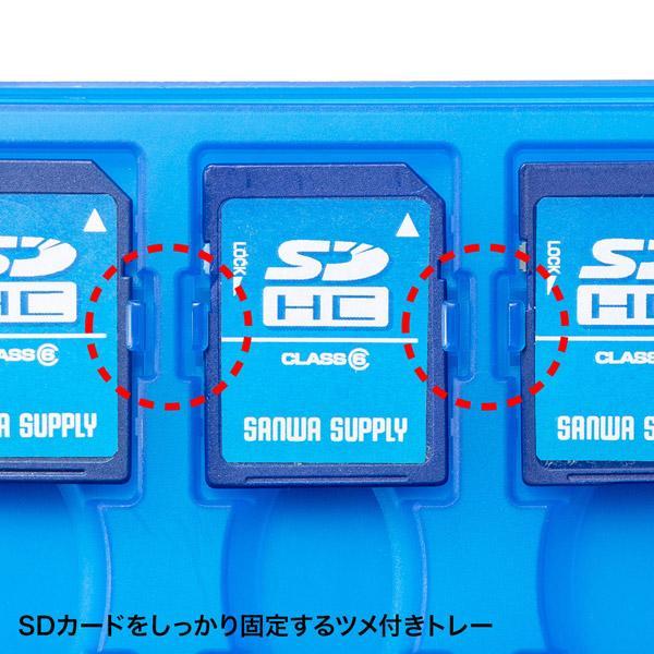 サンワサプライ SDカードケース(12枚収納・クリアブルー) FC-MMC26CBL