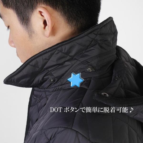 ステンカラー キルティングコート メンズ脱着式フード 軽量中綿 保温素材  全3色 7000 RC1601|y-souko|13