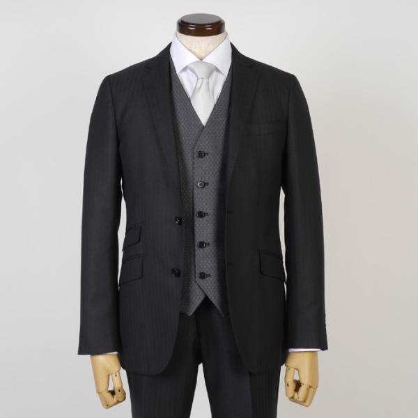 3ピース ノータック スリム ビジネススーツ メンズリバーシブルベスト 16000 RS4022|y-souko|02