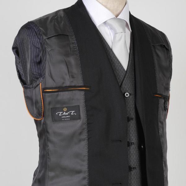 3ピース ノータック スリム ビジネススーツ メンズリバーシブルベスト 16000 RS4022|y-souko|09