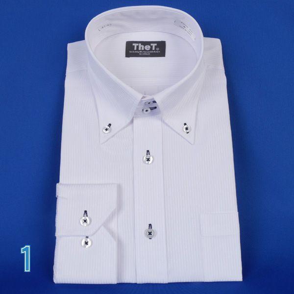 長袖ワイシャツ ドゥエボットーニボタンダウン長袖シャツ  ドビー白シャツ RY401|y-souko|02