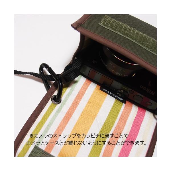 FUJIFILM X-A5ケース -カラビナ付(ブラック・ボルドーストライプ) --レンズキット用 --suono(スオーノ)ハンドメイド y-suono 05