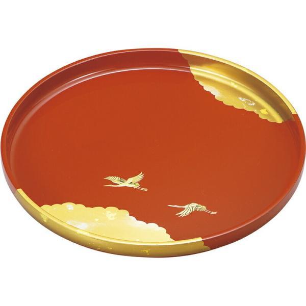 日本製 9.0丸盆(古代朱塗) 純金箔工芸 国産 和食器 高級感 和モダン 和風 料亭 旅館 和食屋 和菓子屋 和テイスト レトロ おしゃれ