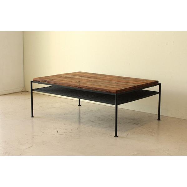 リビングテーブル 幅93cm センターテーブル 木製 木目 収納付き 収納棚 ローテーブル 机 作業台 カフェ パイン無垢 完成品