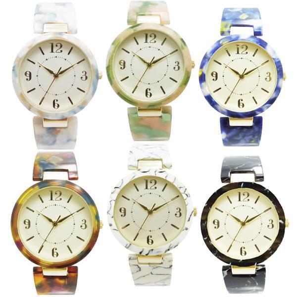 腕時計レディスバングルウォッチASS131ラホールレディースブレスレット日本製ムーブ使用見やすいかわいい簡単装着軽量アセテートベ