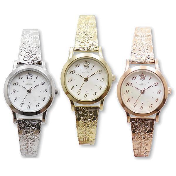 腕時計レディスハワイアンジュエリーウォッチASS147バングルジャバラレディス腕時計日本製ムーブ使用レディースおしゃれかわいい見