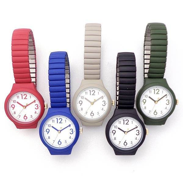 レディス腕時計ジャバラエクステンションベルトカラフルウォッチDT114-NCナチュラルカラー日本製ムーブかわいい見やすい軽量ベル