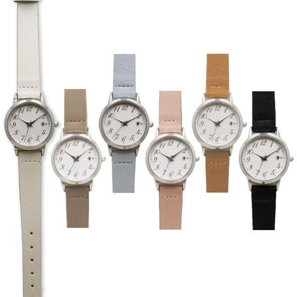 腕時計レディス日付カレンダー付デイト革ウォッチFSC150ポスト投函日本製ムーブ使用シンプルかわいい見やすいクォーツ