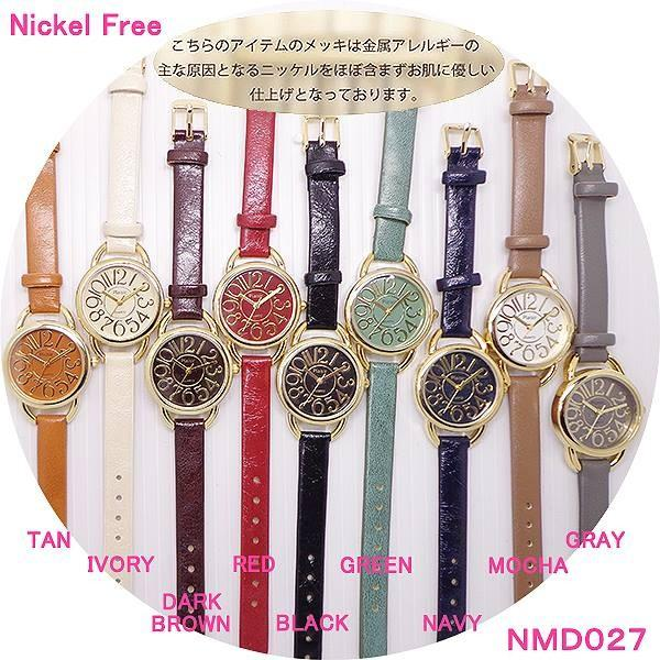 レディス腕時計ニッケルフリーNMD027カラフル大きく見やすいアラビア数字革ベルトレディースウォッチ金属アレルギー肌に優しい腕時