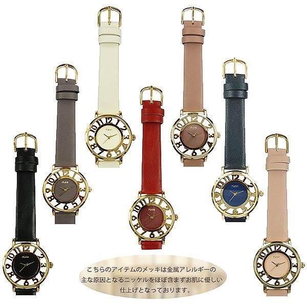 レディス腕時計ニッケルフリーNTK-241スケルトン革ベルトウオッチ金属アレルギーの出にくいアレルギー対応肌に優しいおしゃれ可愛