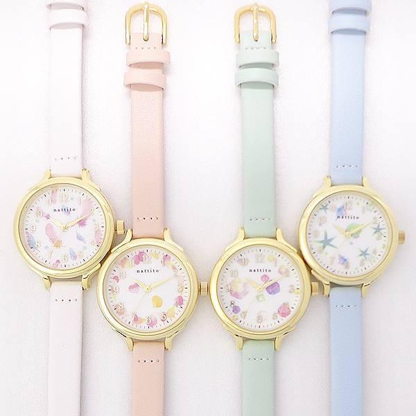 デザインパステル革ウォッチQKS154ロウファポスト投函腕時計レディス日本製ムーブ使用シンプルかわいいパステルカラーへちまヘチマ