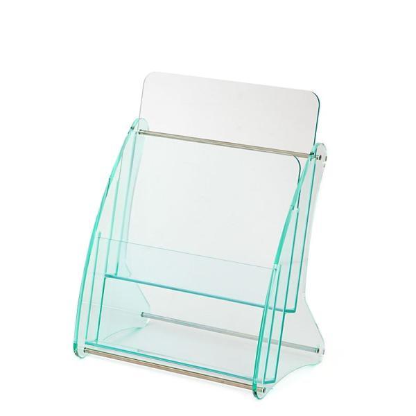 日本製 高級 ガラス色アクリル製 卓上カタログケース パンフレットスタンド A4判1列2段 送料無料 店頭 会社案内 ロビー|y-trytec