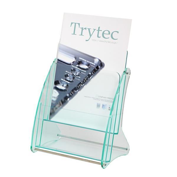 日本製 高級 ガラス色アクリル製 卓上カタログケース パンフレットスタンド A4判1列2段 送料無料 店頭 会社案内 ロビー|y-trytec|03