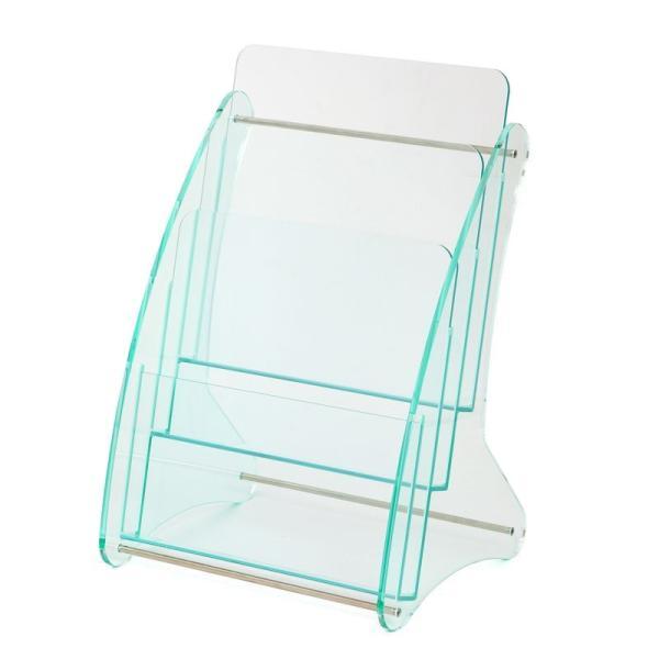 日本製 高級 ガラス色アクリル製 卓上カタログケース パンフレットスタンド A4判1列3段 送料無料 店頭 会社案内 ロビー|y-trytec