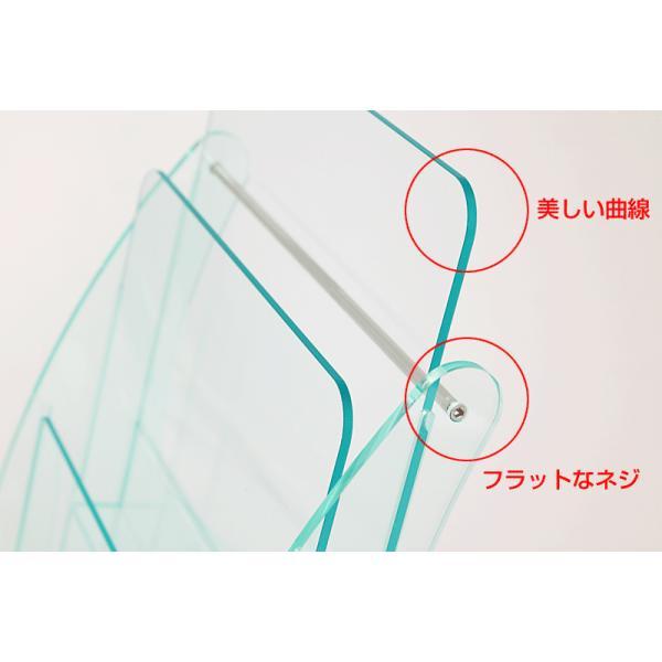 日本製 高級 ガラス色アクリル製 卓上カタログケース パンフレットスタンド A4判1列3段 送料無料 店頭 会社案内 ロビー|y-trytec|02