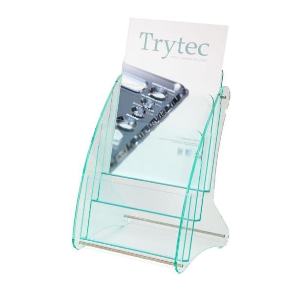 日本製 高級 ガラス色アクリル製 卓上カタログケース パンフレットスタンド A4判1列3段 送料無料 店頭 会社案内 ロビー|y-trytec|03