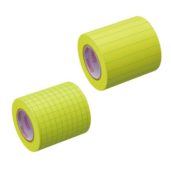 ヤマト メモックロールテープノート 付箋  罫線 方眼 スペア 詰め替え 蛍光色 全面粘着 全面のり 貼って剥がせる ロール付箋 ロールふせん フセン テープ