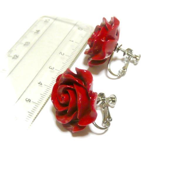 薔薇カット赤珊瑚(25mm)イヤリング