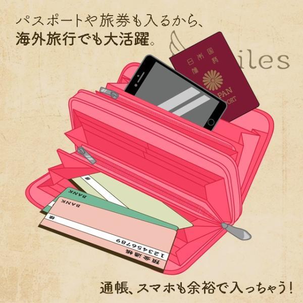 長財布 財布 レディース ラウンドファスナー ダブルファスナー かわいい おしゃれ 女性 レザー 旅行 大容量 スマホ カード 多い ブーゲンビリア|yailes2018|04