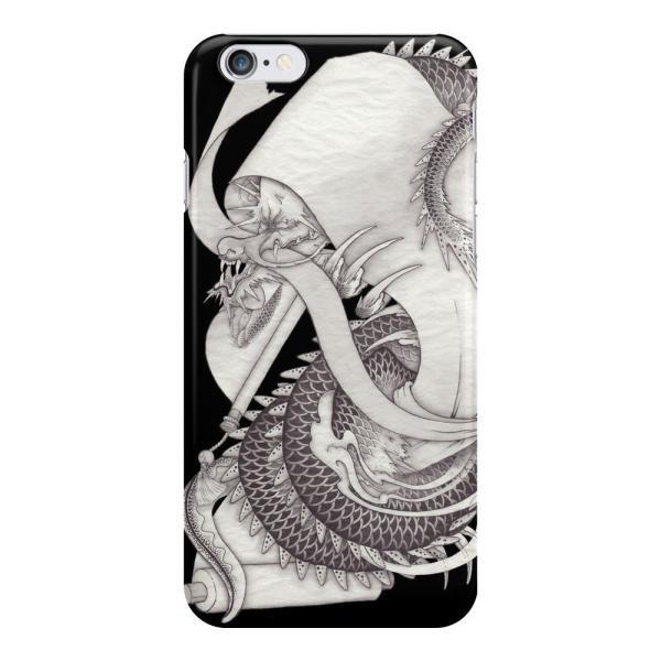 和柄iPhoneケース『長いものを巻くもの(龍と蛇と反物)』 iPhone7 / 6s / 6 用|yakudo-engine