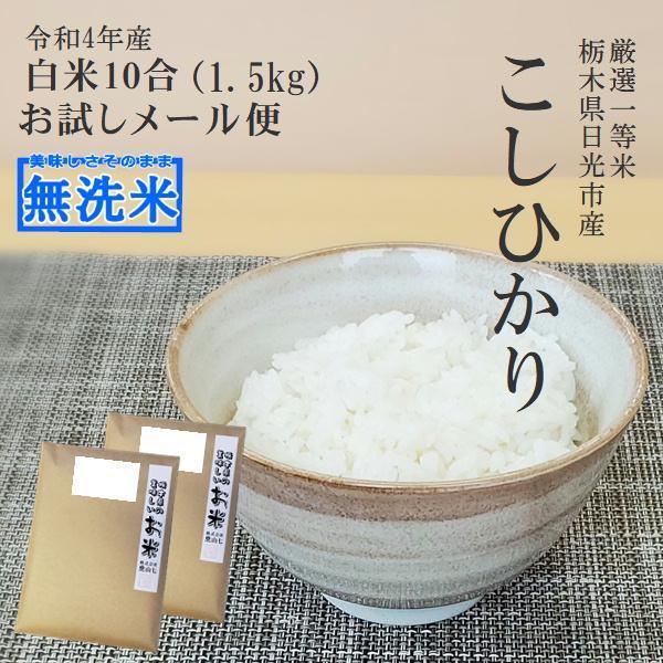 新米 無洗米 コシヒカリ 令和3年産 一等米 お試し 送料無料 750g×2 10合 栃木県
