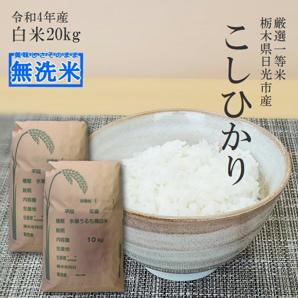 新米 20kg 送料無料 無洗米 コシヒカリ 10kg×2袋 令和3年産 栃木県産 白米 精米 お米 厳選一等米 14時までのご注文で当日出