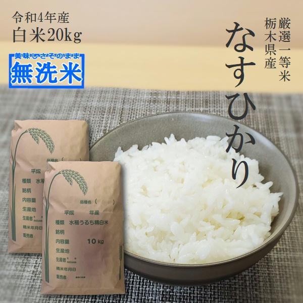 新米 20kg 送料無料 無洗米 なすひかり 10kg×2 令和3年産 栃木県産 白米 一等米 精米 平日14時までのご注文で当日出荷 お米 20キロ