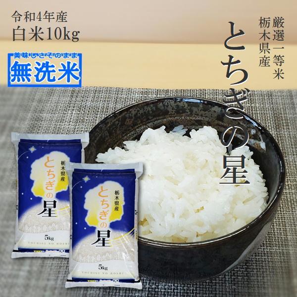 新米 10kg 送料無料 無洗米 とちぎの星 令和3年産 5kg×2袋 栃木県 日光産 白米 一等米 14時までのご注文で当日出荷 お米 10キロ