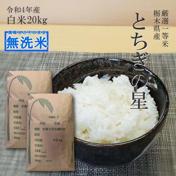 米 20kg 送料無料 無洗米 とちぎの星 令和2年産 10kg×2袋 栃木県 日光産 白米 一等米 14時までのご注文で当日出荷 お米 20キロ
