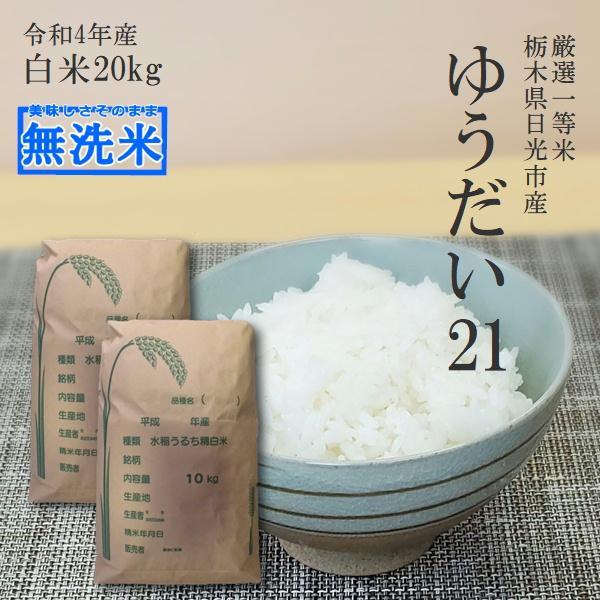 新米 米 20kg 送料無料 ゆうだい21 無洗米 10kg×2 令和3年産 栃木県  白米 一等米