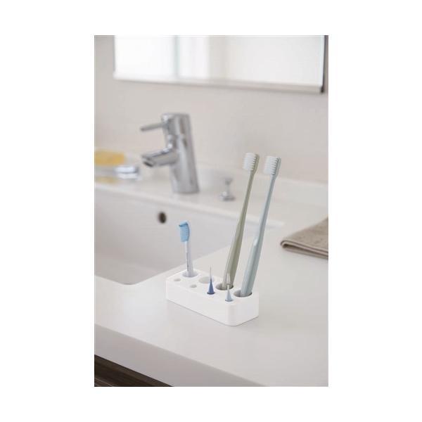 歯ブラシ&歯間ブラシスタンド ミスト 山崎実業 WH 約11.5X4.5X2.8cm 洗面収納|yamada-denki-2|02
