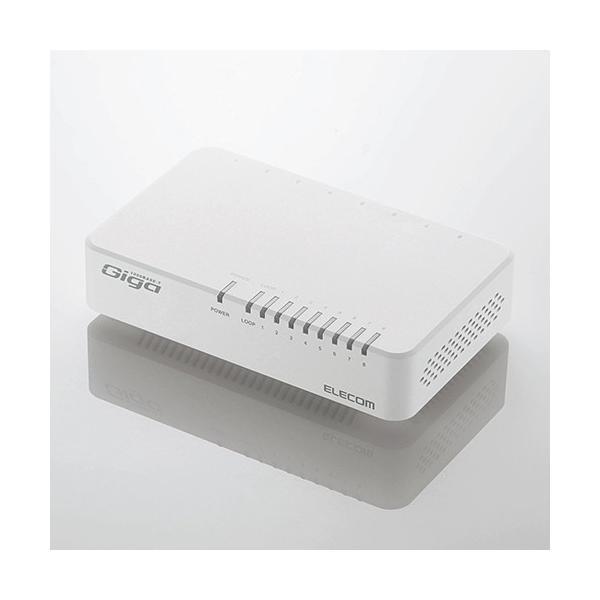 エレコム EHC-G08PA2-JW 1000BASE-T対応スイッチングハブ 8ポート ホワイト
