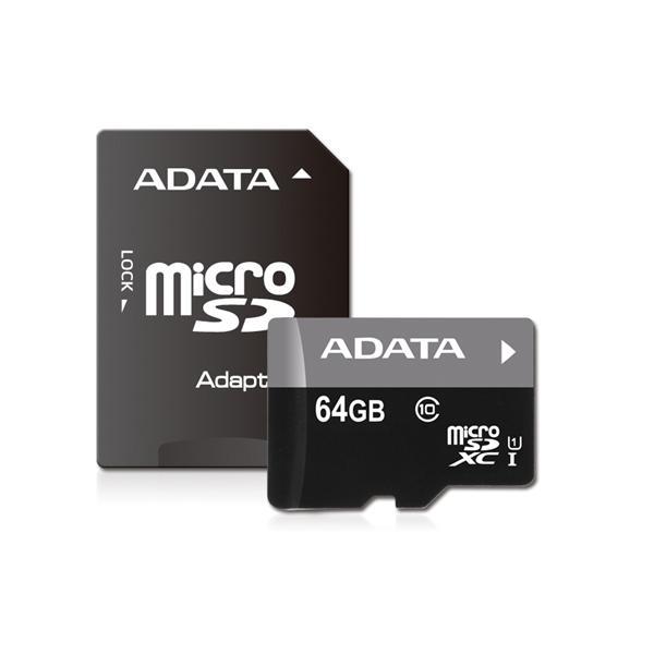 ADATA AUSDX64GUICL10-RA1 ADATA Premier マイクロSDメモリーカード MicroSDHC/XC UHS-I CLASS10 with ADAPTER カード 64GB Class10 UHS-I|yamada-denki