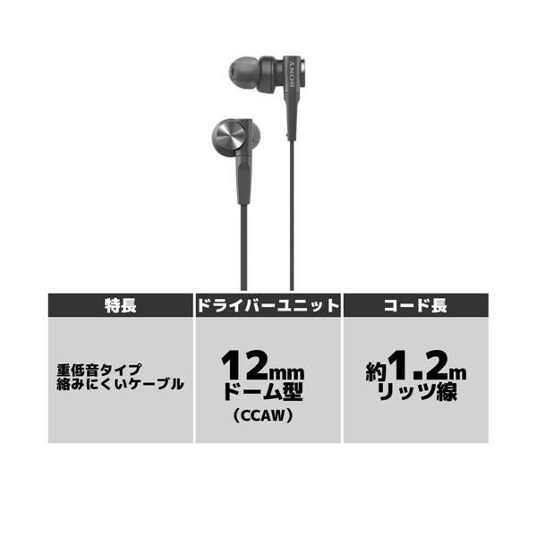 ソニー MDR-XB55-B ダイナミック密閉型カナルイヤホン ブラック