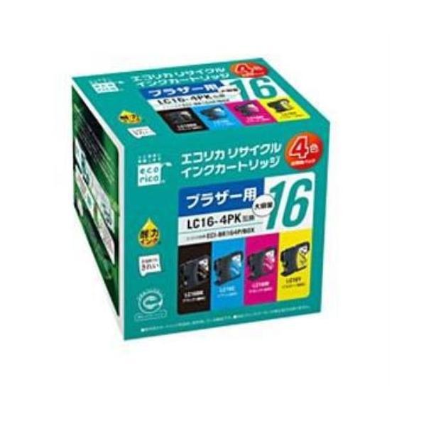 エコリカ ECI-BR164P/BOX ブラザー LC16-4PK対応 リサイクルインクカートリッジ 4色BOXパック yamada-denki