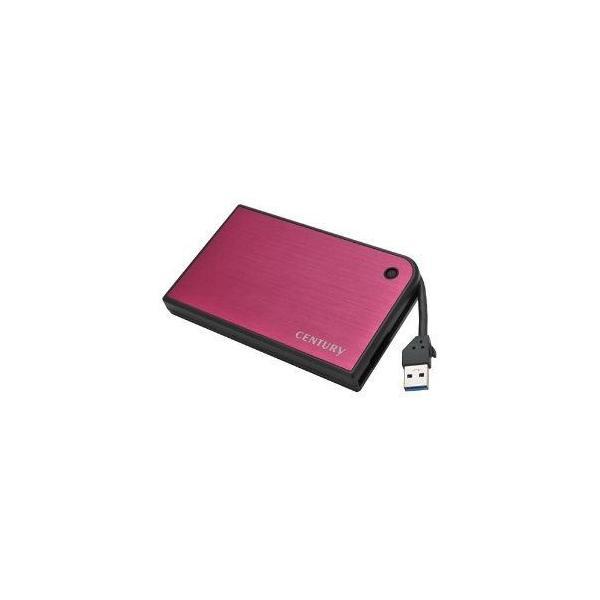 センチュリー CMB25U3RD6G MOBILE BOX USB3.0接続 SATA6G 2.5 HDD/SSDケース マゼンタ&ブラック
