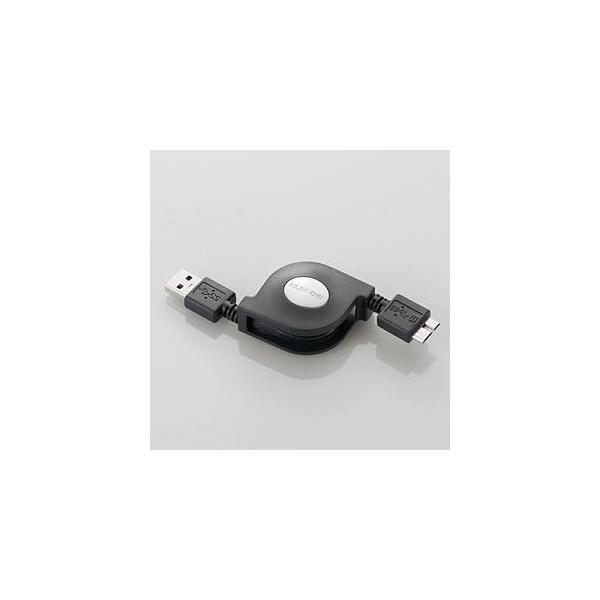 巻き取りUSB3.0ケーブル(A-microB)0.7m  ブラック  USB3-AMBRL07BK|yamada-denki