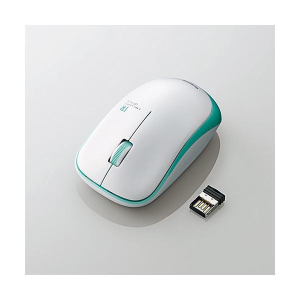 エレコム 無線/3ボタン/省電力マウス M-IR07DRGN グリーンの画像