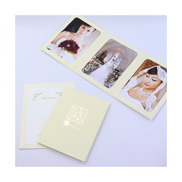 ペーパー フォトフレーム 写真台紙 ウエディング 結婚式 WEDDING/桜 2Lサイズ 3面タテ クリーム