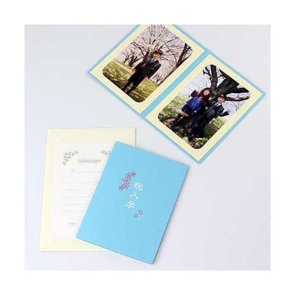 ペーパー フォトフレーム 写真台紙 祝入学/さくら Lサイズ (89×127mm) 2面タテ ブルー|yamadaya-daishi