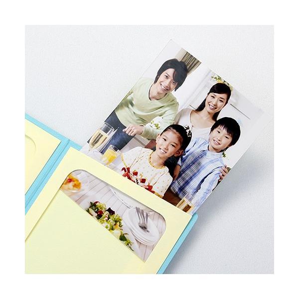 ペーパー フォトフレーム 写真台紙 祝入学/さくら Lサイズ (89×127mm) 2面タテ ブルー|yamadaya-daishi|02