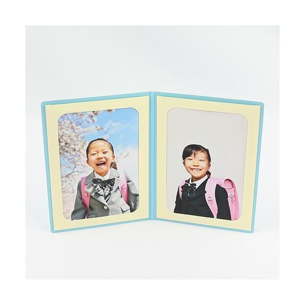 ペーパー フォトフレーム 写真台紙 祝入学/さくら Lサイズ (89×127mm) 2面タテ ブルー|yamadaya-daishi|03