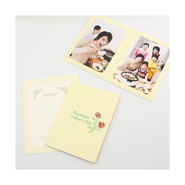 ペーパー フォトフレーム 写真台紙 父の日 ギフト Father's Day/赤いばら 2Lサイズ 2面タテ クリーム|yamadaya-daishi